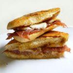 Prosciutto and Mozzarella Panini Sandwich with Fig Jam