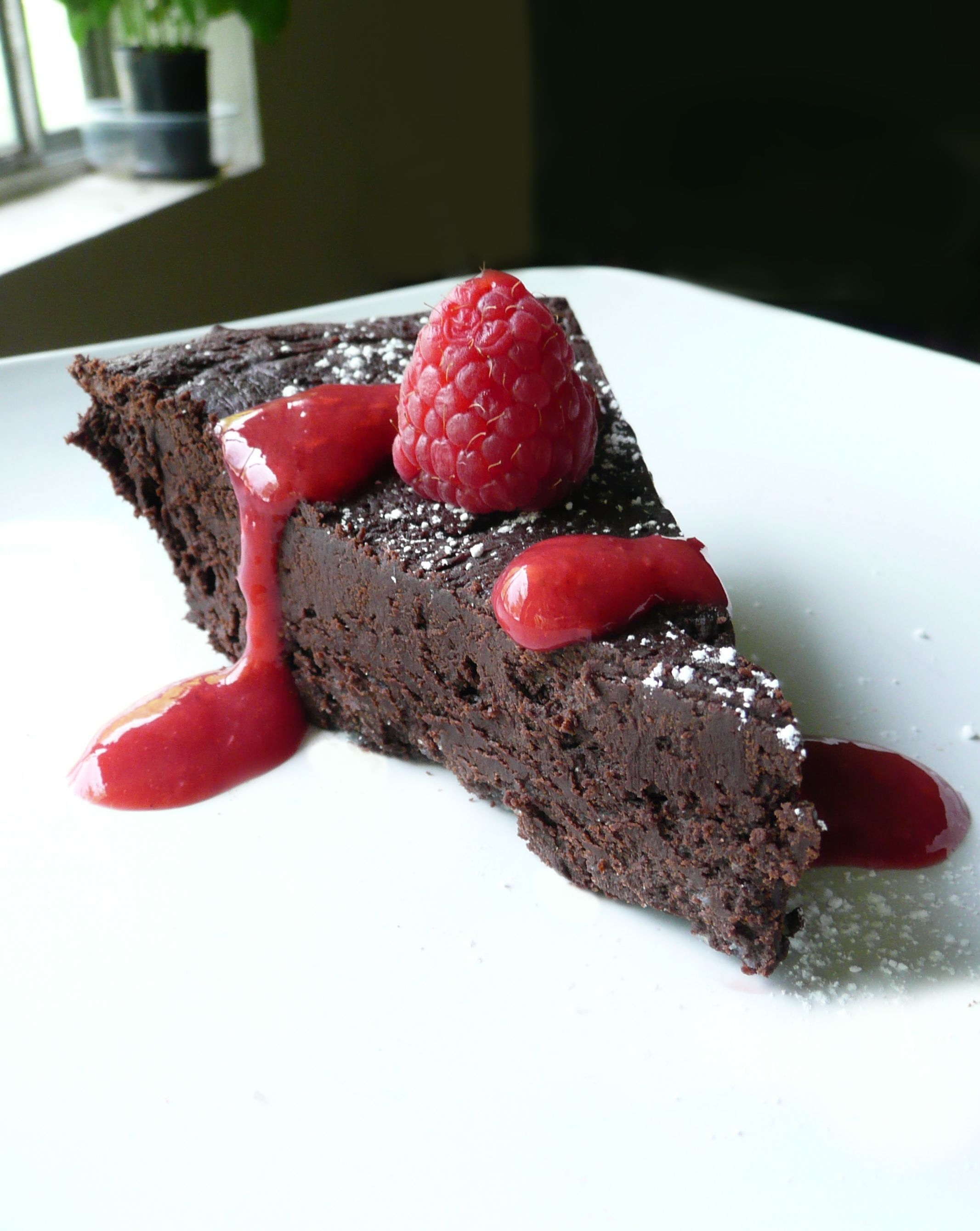 Flourless Chocolate Torte with Raspberry Sauce The Partial Ingredients