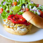 Pulled Moroccan Chicken Sandwich with Roasted Red Peppers and Yogurt Dill Dressing