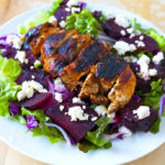 Roasted Beet and Goat Cheese Salad with Balsamic Grilled Chicken