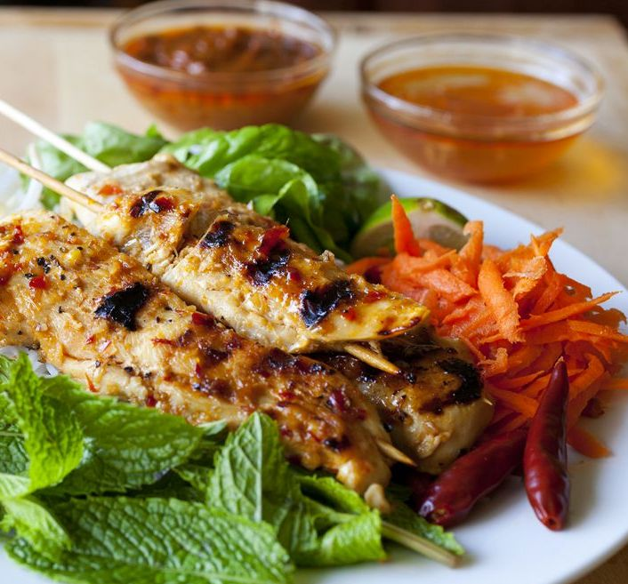 Grilled Lemongrass Chicken with Vietnamese Rice Noodle Salad