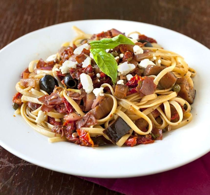 Roasted Eggplant Linguine with Prosciutto and Sun-Dried Tomatoes - The ...