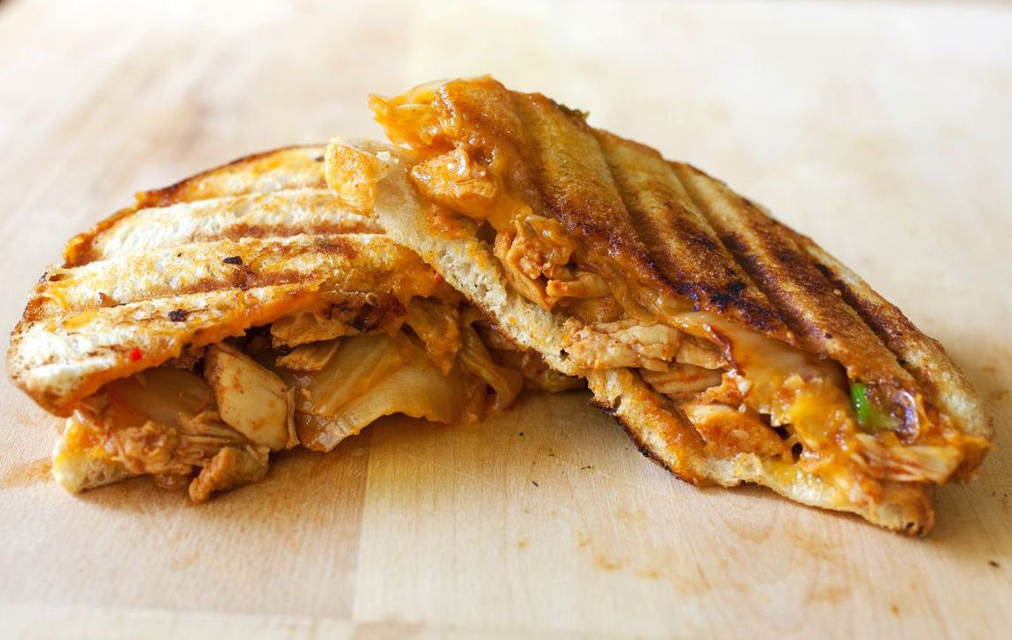 Pulled Chicken Sandwich With Kimchi And Gochujang Mayo