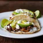 Achiote Black Bean Tacos with Grilled Avocado and Goat Cheese