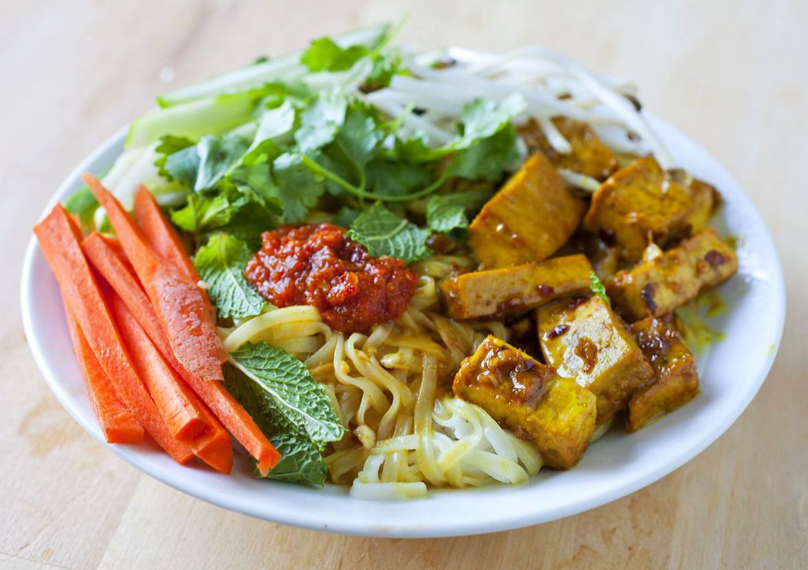 Vietnamese Noodle Salad With Stir-Fried Tofu And Vegetables