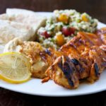 Shish Taouk (Lebanese Chicken Skewers) with Hummus and Tabouleh
