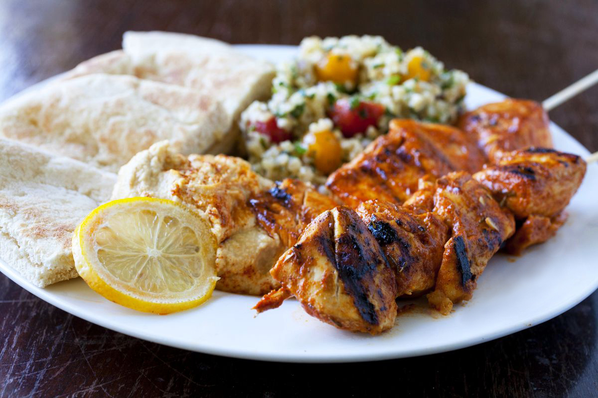 Shish taouk lebanese chicken skewers with hummus and tabouleh who forumfinder Gallery