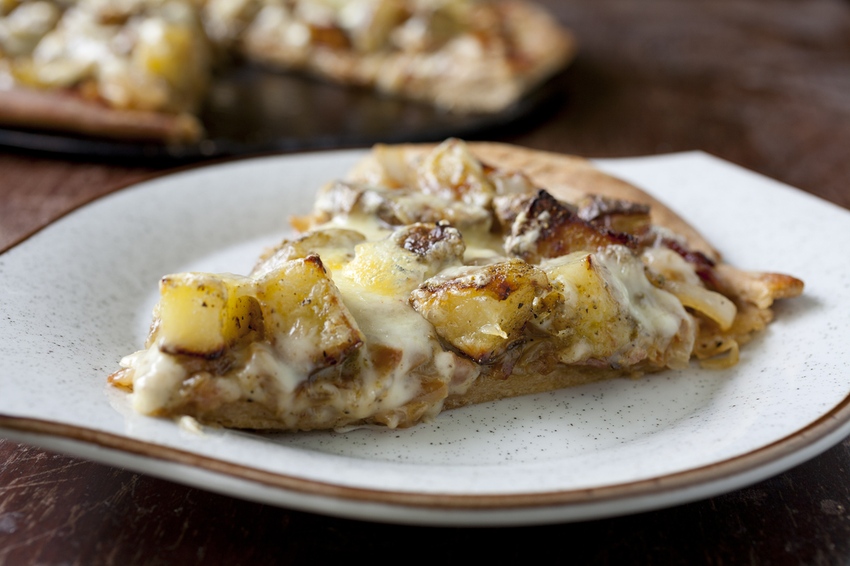 Roasted Rosemary Potato Pizza with Caramelized Onions and Fontina