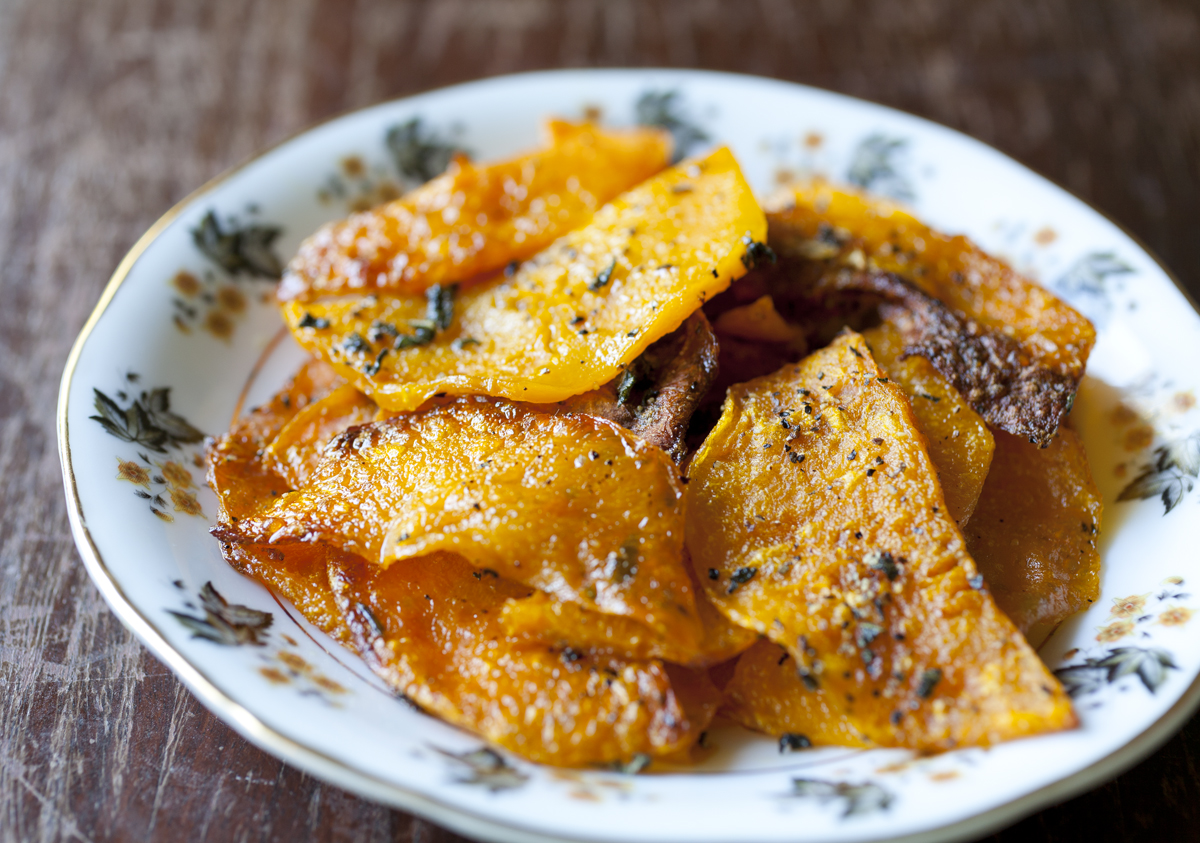 Roasted Butternut Squash Chips with Sage