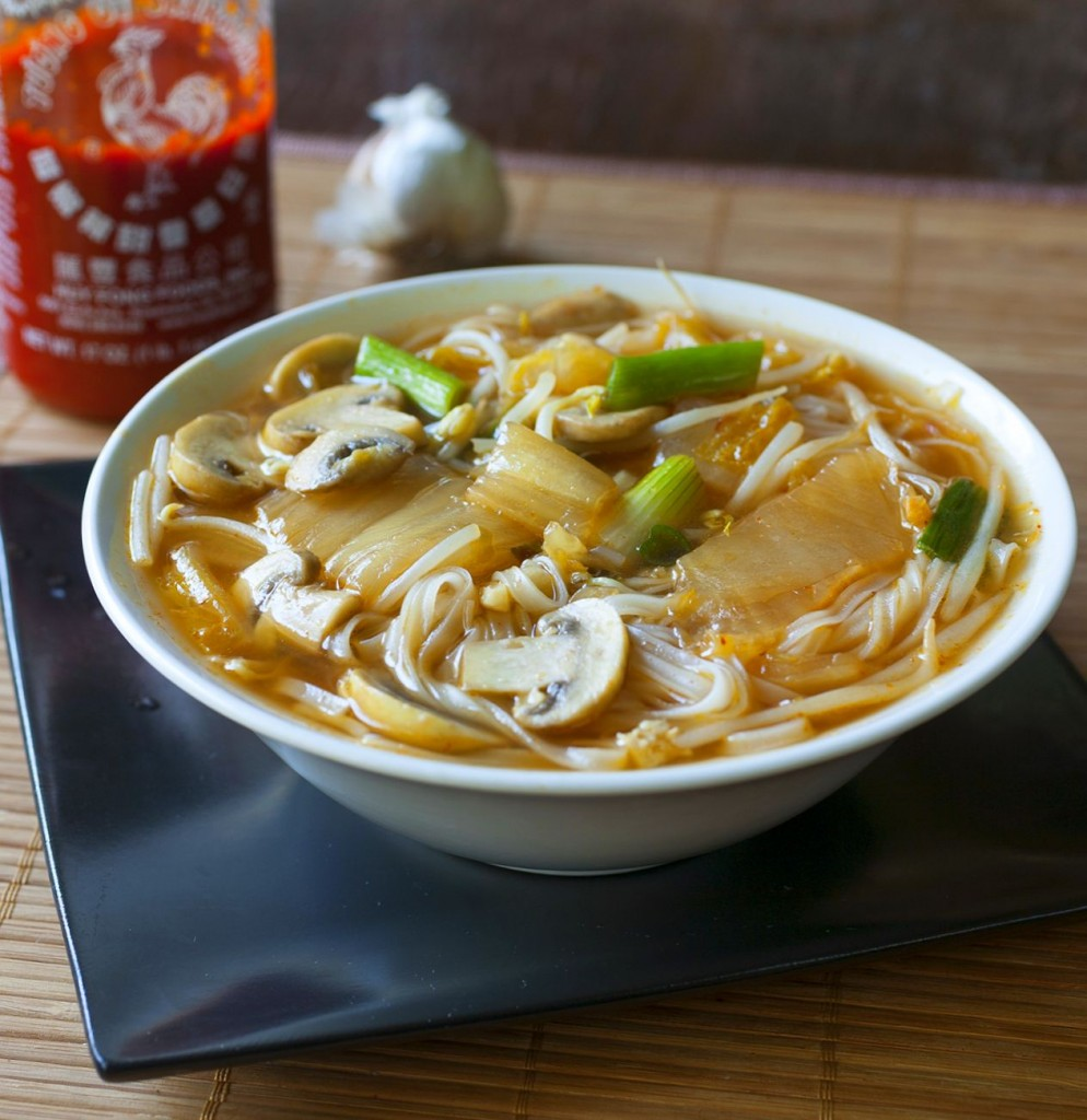 Tofu and Kimchi Noodle Soup