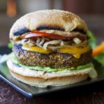 Black Bean Burger with Caramelized Onions and Chipotle Mayo