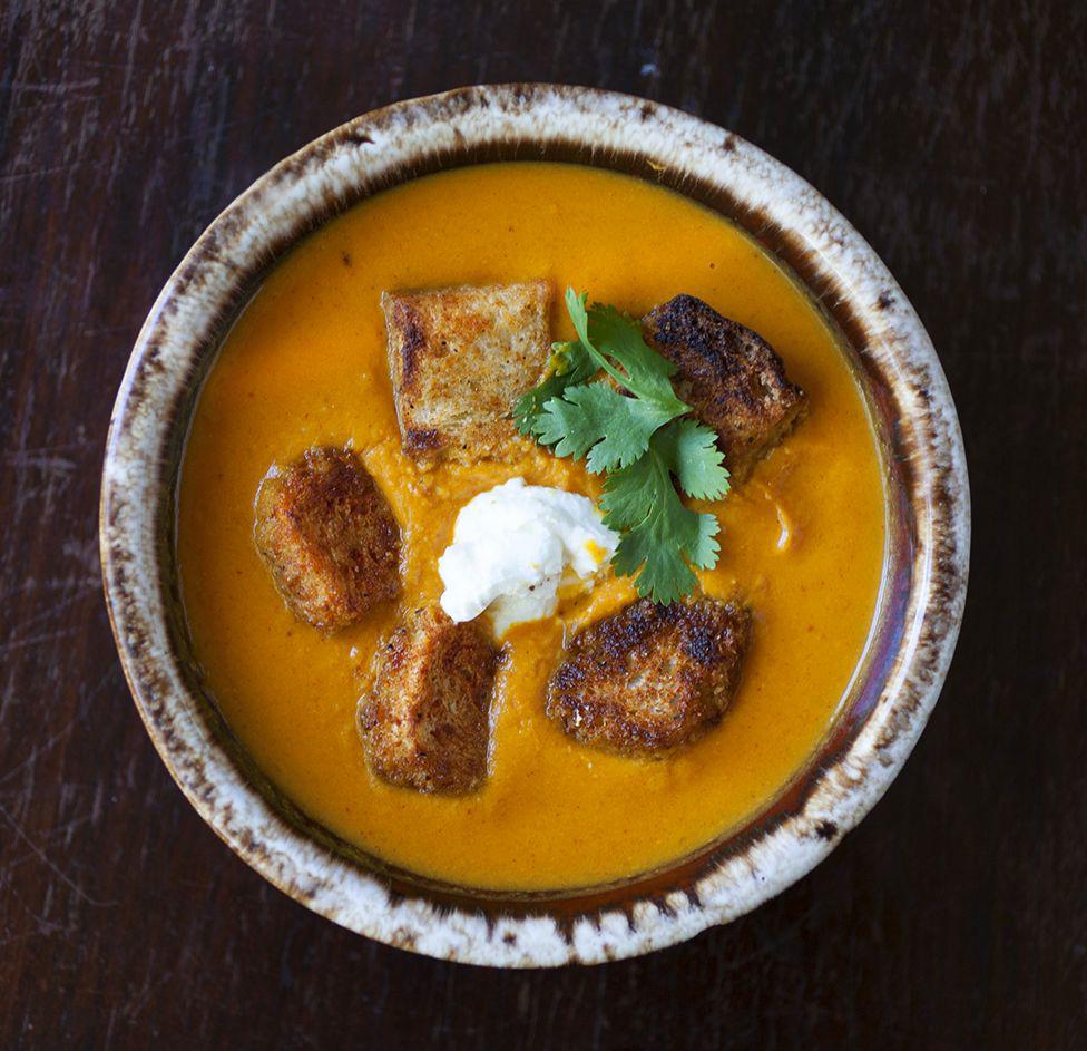 Roasted Sweet Potato Soup with Smokey Croutons and Greek Yogurt