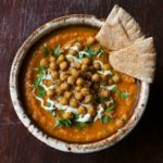 Carrot Soup with Roasted Chickpeas and Lemon Tahini
