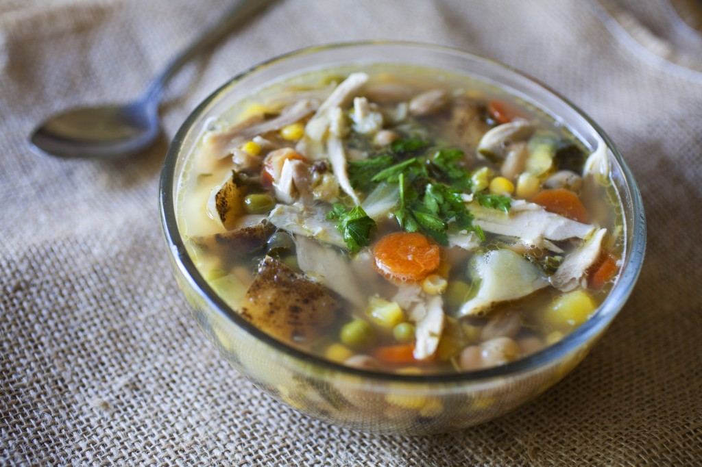Chicken Vegetable Soup with Acorn Squash and White Beans