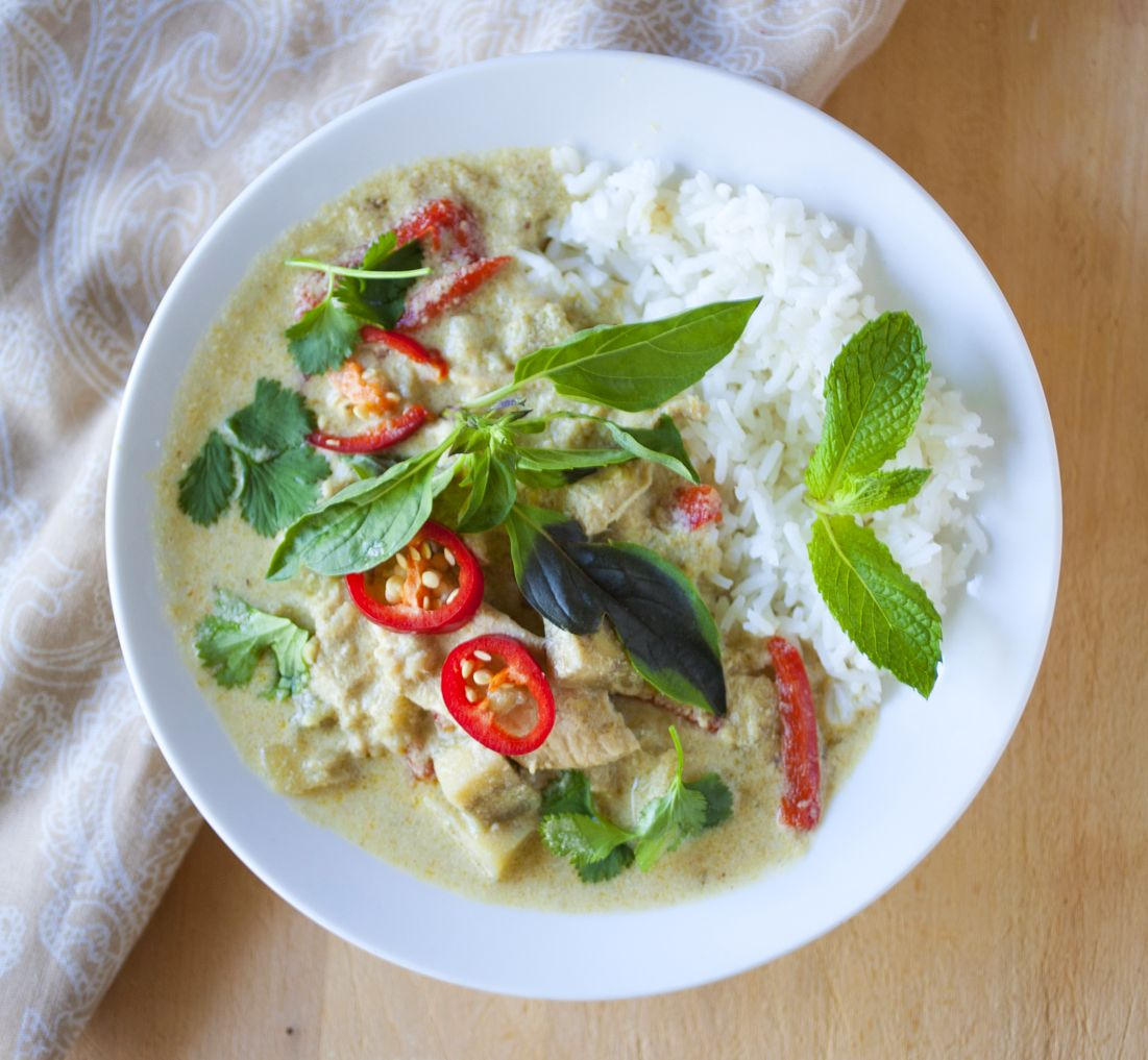 Thai Green Curry with Chicken and Eggplant