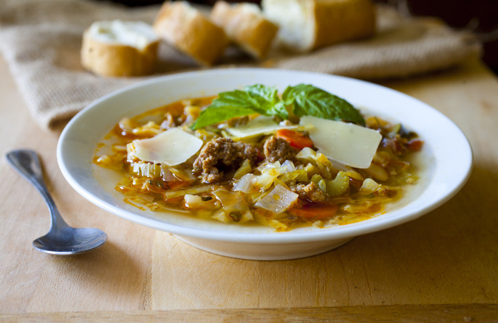 Sausage, White Bean and Cabbage Soup