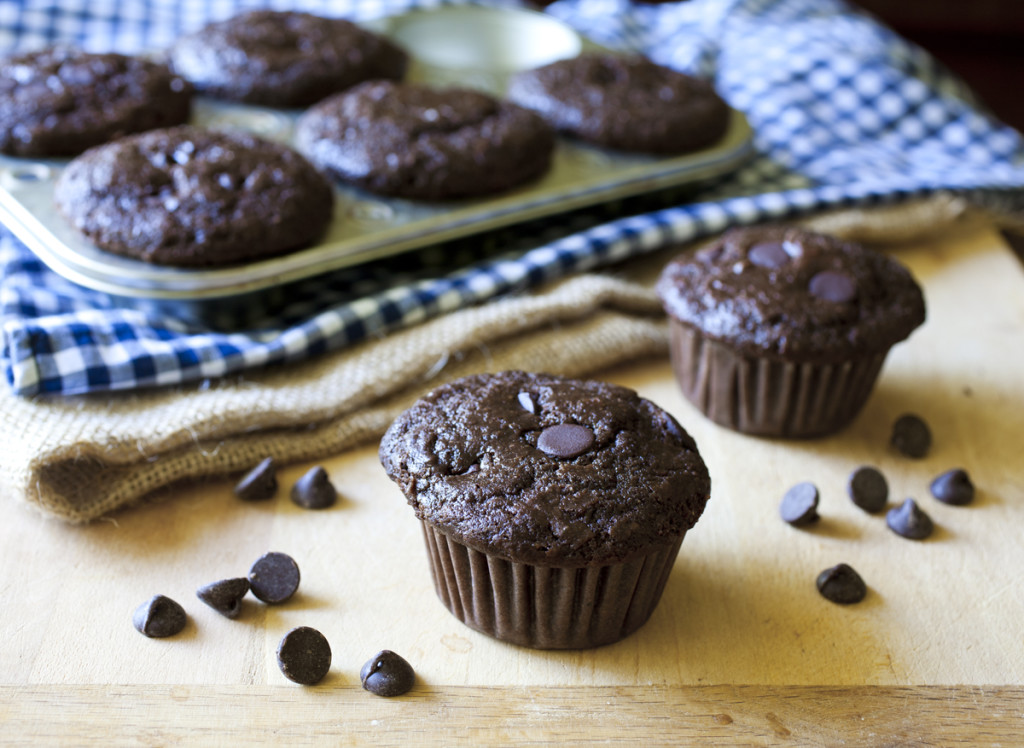 Double Chocolate Chip Buttermilk Muffins - The Partial Ingredients
