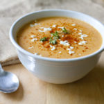 Cauliflower and Roasted Red Pepper Soup with Goat Cheese