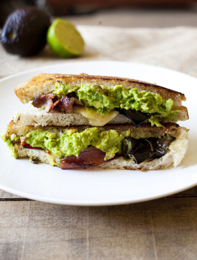 Bacon, Avocado and Roasted Jalapeno Sandwich