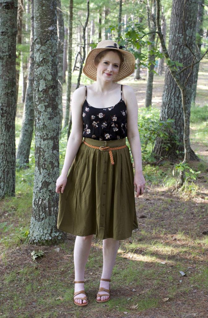 Charcoal Cardigan & Olive Midi Skirt