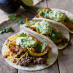 Spiced Beef Fajita Tacos with Avocado Cream and Restaurant Style Salsa