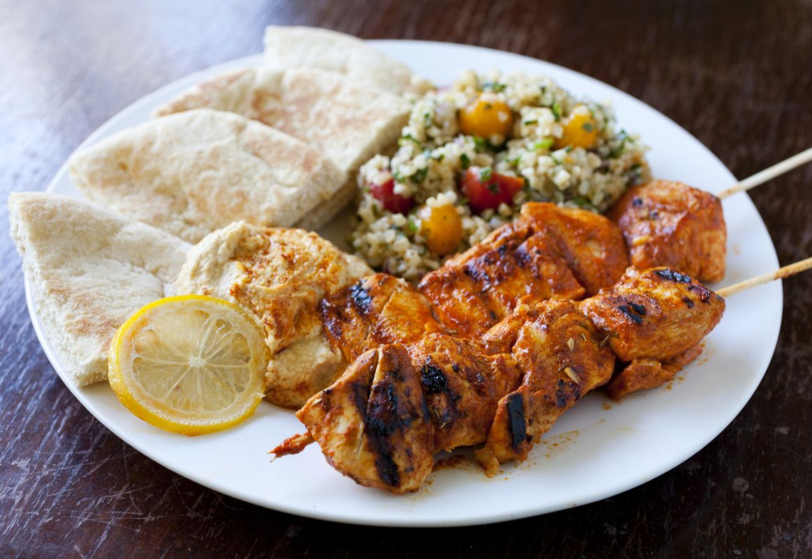 Shish Taouk (Lebanese Chicken Skewers) with Hummus and Tabouleh - Partial Ingredients